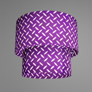 2 Tier Lamp Shade - P13 - Batik Tread Plate Purple, 40cm x 20cm & 30cm x 15cm