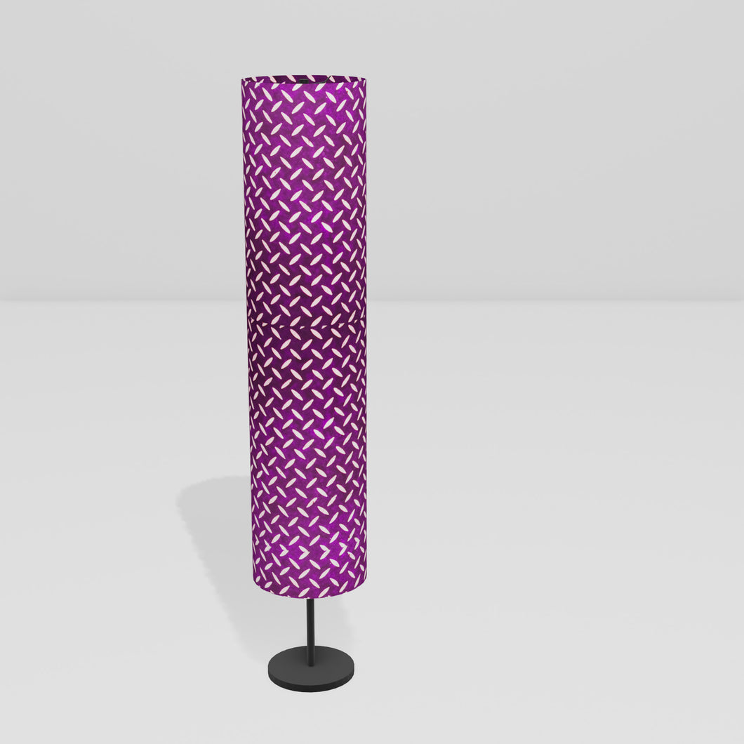 Drum Floor Lamp - P13 - Batik Tread Plate Purple, 22cm(d) x 114cm(h)