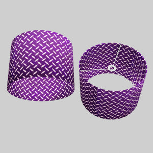 Drum Lamp Shade - P13 - Batik Tread Plate Purple, 40cm(d) x 30cm(h)