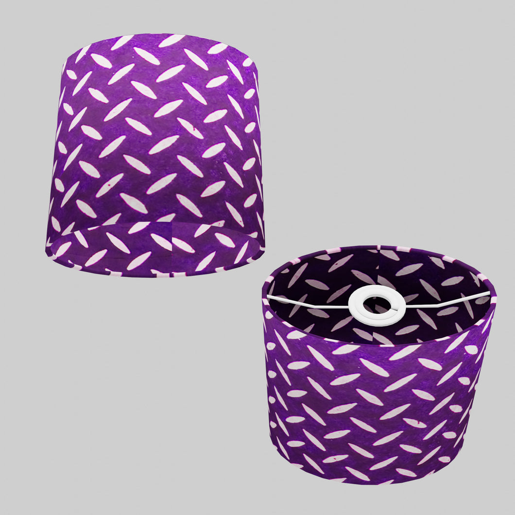 Oval Lamp Shade - P13 - Batik Tread Plate Purple, 20cm(w) x 20cm(h) x 13cm(d)