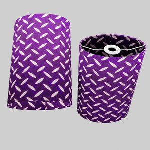 Oval Lamp Shade - P13 - Batik Tread Plate Purple, 20cm(w) x 30cm(h) x 13cm(d)