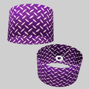Oval Lamp Shade - P13 - Batik Tread Plate Purple, 30cm(w) x 20cm(h) x 22cm(d)
