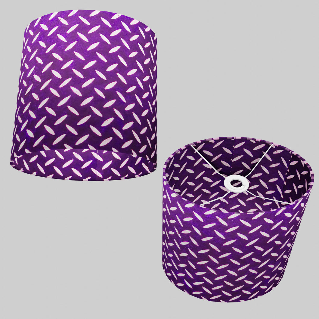 Oval Lamp Shade - P13 - Batik Tread Plate Purple, 30cm(w) x 30cm(h) x 22cm(d)