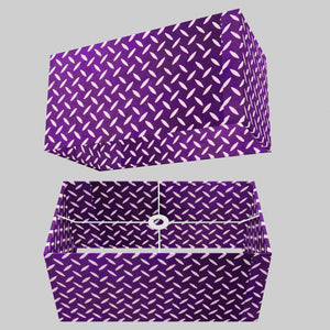 Rectangle Lamp Shade - P13 - Batik Tread Plate Purple, 50cm(w) x 25cm(h) x 25cm(d)