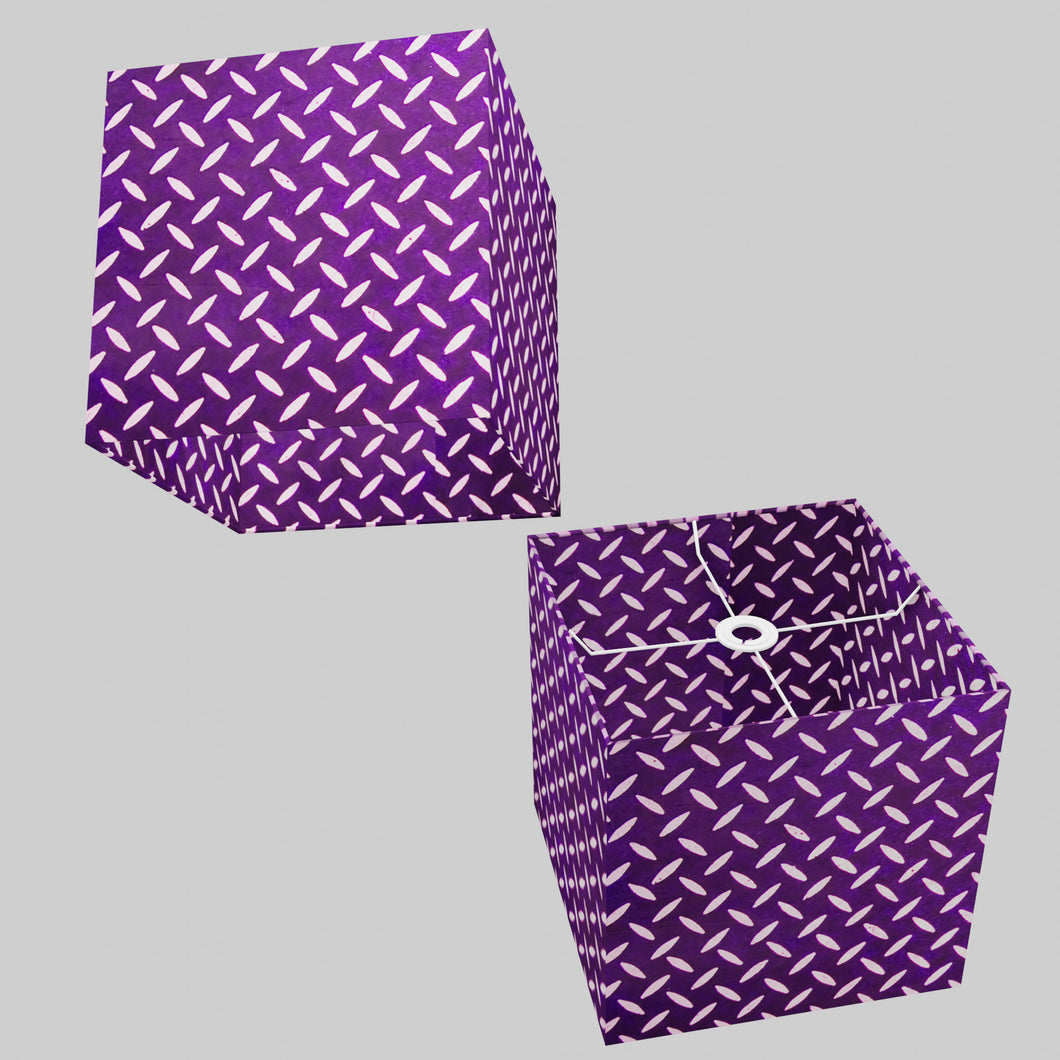 Square Lamp Shade - P13 - Batik Tread Plate Purple, 30cm(w) x 30cm(h) x 30cm(d)