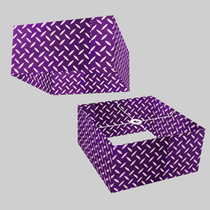 Square Lamp Shade - P13 - Batik Tread Plate Purple, 40cm(w) x 20cm(h) x 40cm(d)