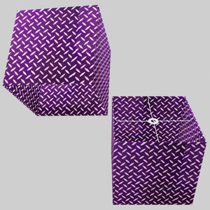 Square Lamp Shade - P13 - Batik Tread Plate Purple, 40cm(w) x 40cm(h) x 40cm(d)