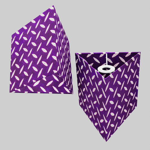 Triangle Lamp Shade - P13 - Batik Tread Plate Purple, 20cm(w) x 20cm(h)