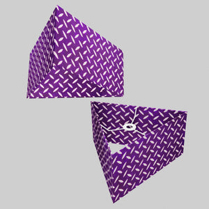 Triangle Lamp Shade - P13 - Batik Tread Plate Purple, 40cm(w) x 20cm(h)