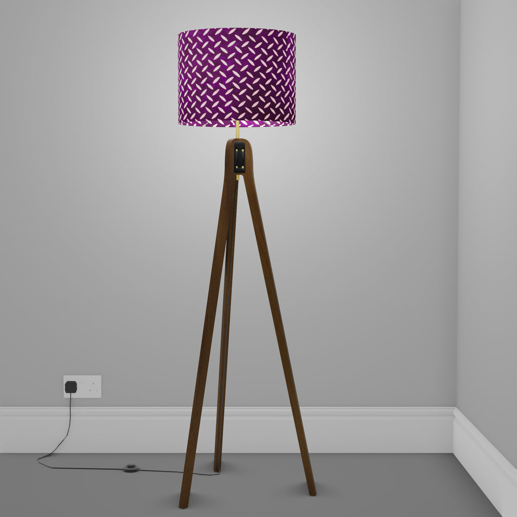 Sapele Tripod Floor Lamp - P13 - Batik Tread Plate Purple
