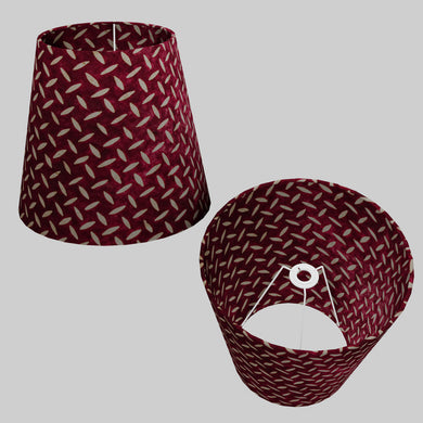 Conical Lamp Shade P14 - Batik Tread Plate Cranberry, 23cm(top) x 35cm(bottom) x 31cm(height)