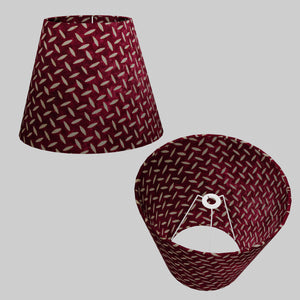 Conical Lamp Shade P14 - Batik Tread Plate Cranberry, 23cm(top) x 40cm(bottom) x 31cm(height)