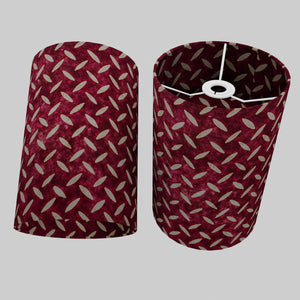 Drum Lamp Shade - P14 - Batik Tread Plate Cranberry, 20cm(d) x 30cm(h)