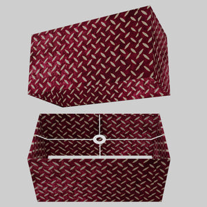 Rectangle Lamp Shade - P14 - Batik Tread Plate Cranberry, 50cm(w) x 25cm(h) x 25cm(d)