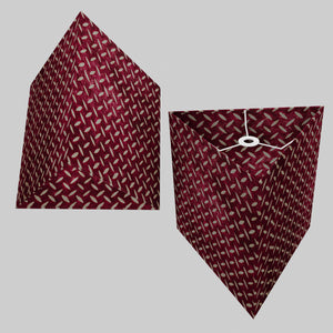 Triangle Lamp Shade - P14 - Batik Tread Plate Cranberry, 40cm(w) x 40cm(h)