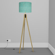 Oak Tripod Floor Lamp - P15 - Batik Tread Plate Mint Green