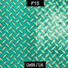 Square Lamp Shade - P15 - Batik Tread Plate Mint Green, 20cm(w) x 30cm(h) x 20cm(d) - Imbue Lighting