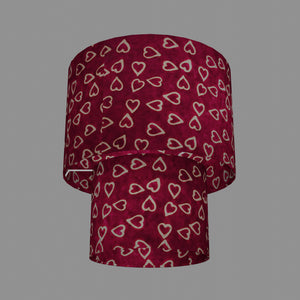 2 Tier Lamp Shade - P16 - Batik Hearts on Cranberry, 30cm x 20cm & 20cm x 15cm