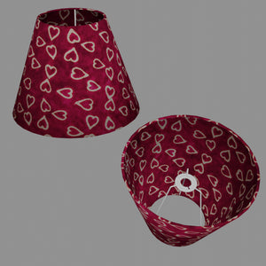 Conical Lamp Shade P16 - Batik Hearts on Cranberry, 15cm(top) x 30cm(bottom) x 22cm(height)