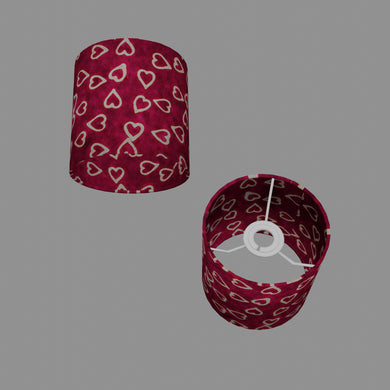 Drum Lamp Shade - P16 - Batik Hearts on Cranberry, 15cm(d) x 15cm(h)