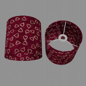 Drum Lamp Shade - P16 - Batik Hearts on Cranberry, 20cm(d) x 20cm(h)