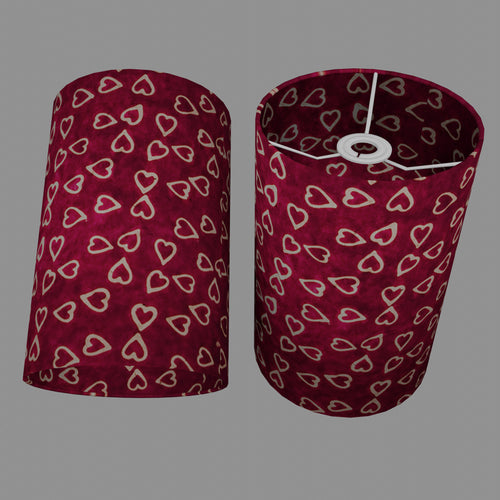 Drum Lamp Shade - P16 - Batik Hearts on Cranberry, 20cm(d) x 30cm(h)