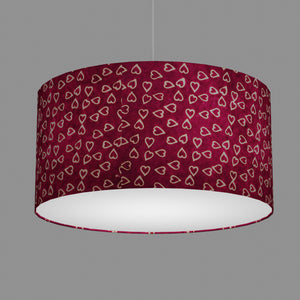 Drum Lamp Shade - P16 - Batik Hearts on Cranberry, 60cm(d) x 30cm(h)