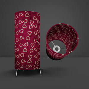 Free Standing Table Lamp Small - P16 ~ Batik Hearts on Cranberry