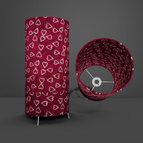 Free Standing Table Lamp Large - P16 ~ Batik Hearts on Cranberry