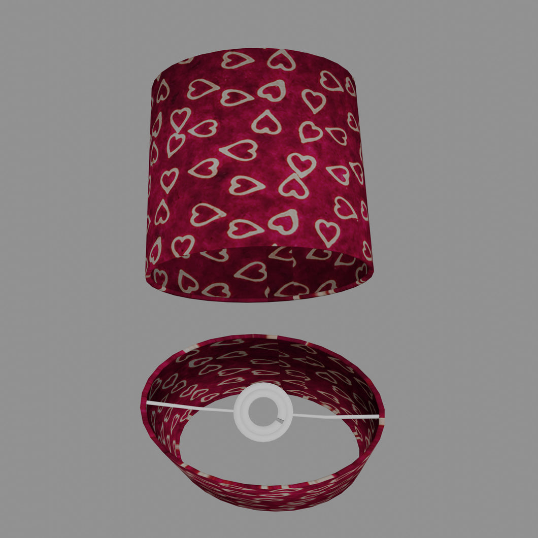 Oval Lamp Shade - P16 - Batik Hearts on Cranberry, 20cm(w) x 20cm(h) x 13cm(d)
