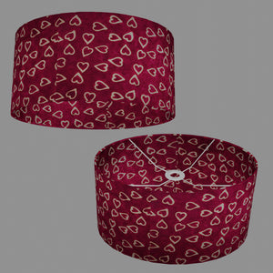 Oval Lamp Shade - P16 - Batik Hearts on Cranberry, 40cm(w) x 20cm(h) x 30cm(d)