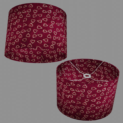 Oval Lamp Shade - P16 - Batik Hearts on Cranberry, 40cm(w) x 30cm(h) x 30cm(d)