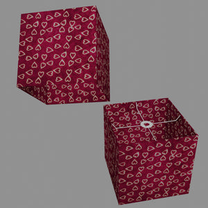 Square Lamp Shade - P16 - Batik Hearts on Cranberry, 30cm(w) x 30cm(h) x 30cm(d)