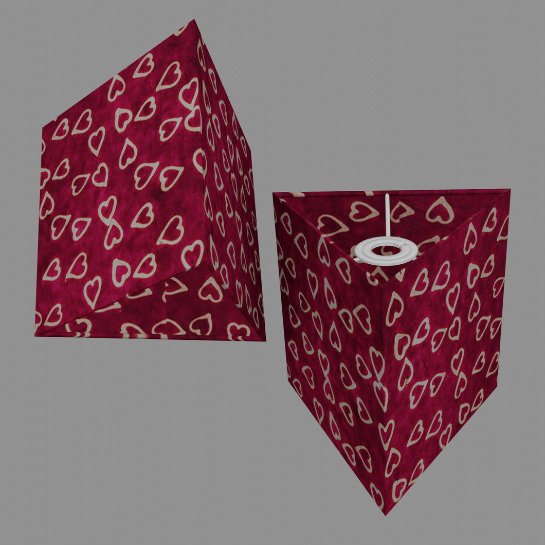 Triangle Lamp Shade - P16 - Batik Hearts on Cranberry, 20cm(w) x 20cm(h)