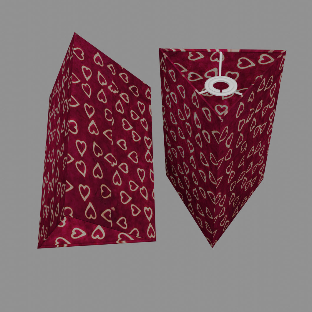 Triangle Lamp Shade - P16 - Batik Hearts on Cranberry, 20cm(w) x 30cm(h)