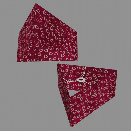 Triangle Lamp Shade - P16 - Batik Hearts on Cranberry, 40cm(w) x 20cm(h)
