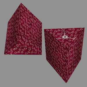 Triangle Lamp Shade - P16 - Batik Hearts on Cranberry, 40cm(w) x 40cm(h)
