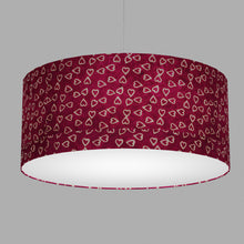Drum Lamp Shade - P16 - Batik Hearts on Cranberry, 70cm(d) x 30cm(h)