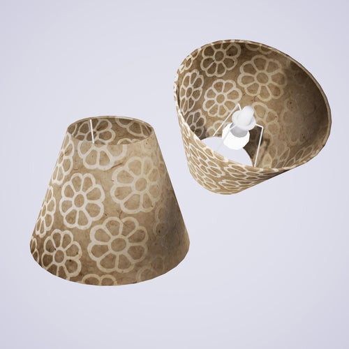 Conical Lamp Shade P17 - Batik Big Flower on Natural, 15cm(top) x 30cm(bottom) x 22cm(height)