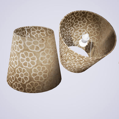 Conical Lamp Shade P17 - Batik Big Flower on Natural, 23cm(top) x 35cm(bottom) x 31cm(height)