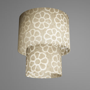 2 Tier Lamp Shade - P17 - Batik Big Flower on Natural, 30cm x 20cm & 20cm x 15cm