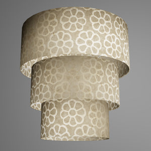 3 Tier Lamp Shade - P17 - Batik Big Flower on Natural, 50cm x 20cm, 40cm x 17.5cm & 30cm x 15cm