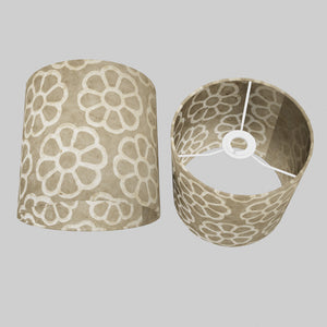 Drum Lamp Shade - P17 - Batik Big Flower on Natural, 20cm(d) x 20cm(h)