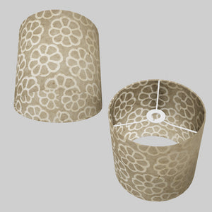 Drum Lamp Shade - P17 - Batik Big Flower on Natural, 25cm x 25cm