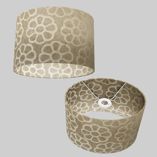 Oval Lamp Shade - P17 - Batik Big Flower on Natural, 30cm(w) x 20cm(h) x 22cm(d)