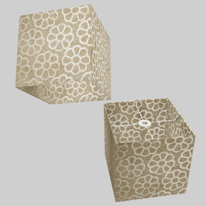 Square Lamp Shade - P17 - Batik Big Flower on Natural, 30cm(w) x 30cm(h) x 30cm(d)