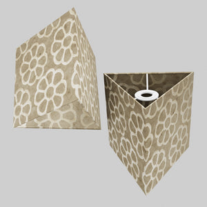 Triangle Lamp Shade - P17 - Batik Big Flower on Natural, 20cm(w) x 20cm(h)