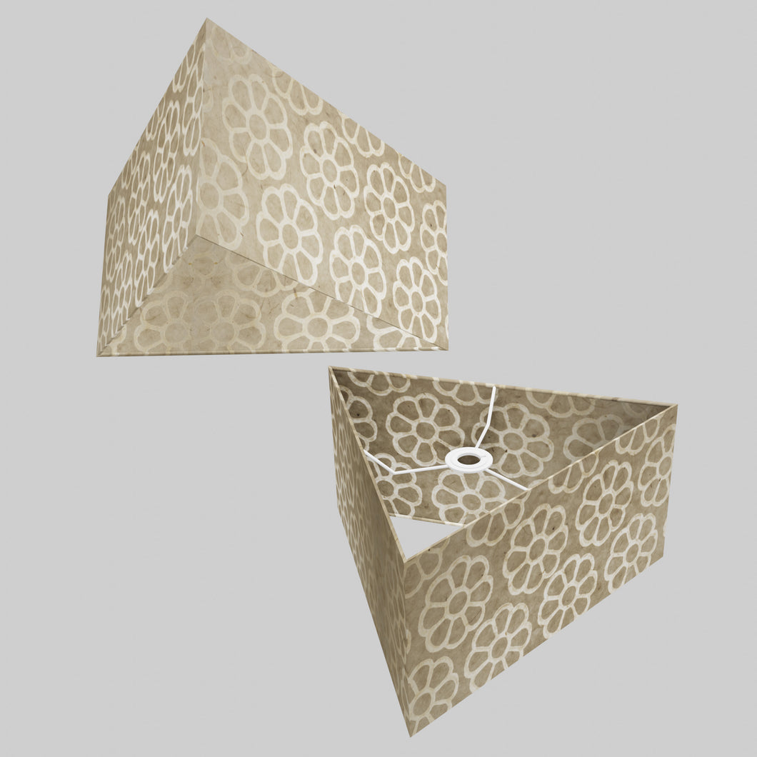Triangle Lamp Shade - P17 - Batik Big Flower on Natural, 40cm(w) x 20cm(h)