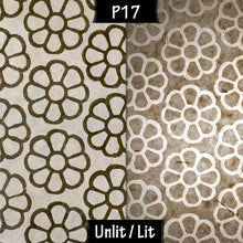 Triangle Lamp Shade - P17 - Batik Big Flower on Natural, 20cm(w) x 20cm(h) - Imbue Lighting