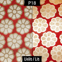 Drum Lamp Shade - P18 - Batik Big Flower on Red, 15cm(d) x 20cm(h)